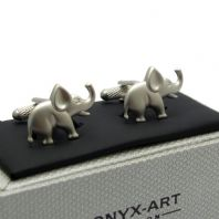 Novelty Elephant Cufflinks by Onyx Art in Gift Box